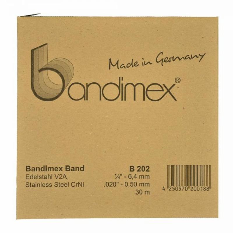 B202 6,4mm Bandimex Band vollrunde Kanten 30m/Rolle