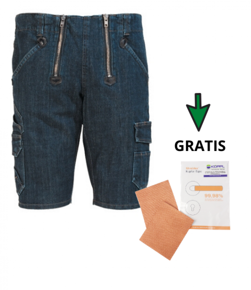 "Stretch-Jeans-Zunft-Bermuda ""Volkmar"" + 1 Paar Gratis Shieldex® Anti-Viren-Tape"